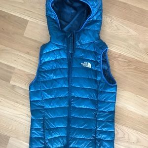 North face puffy vest royal blue